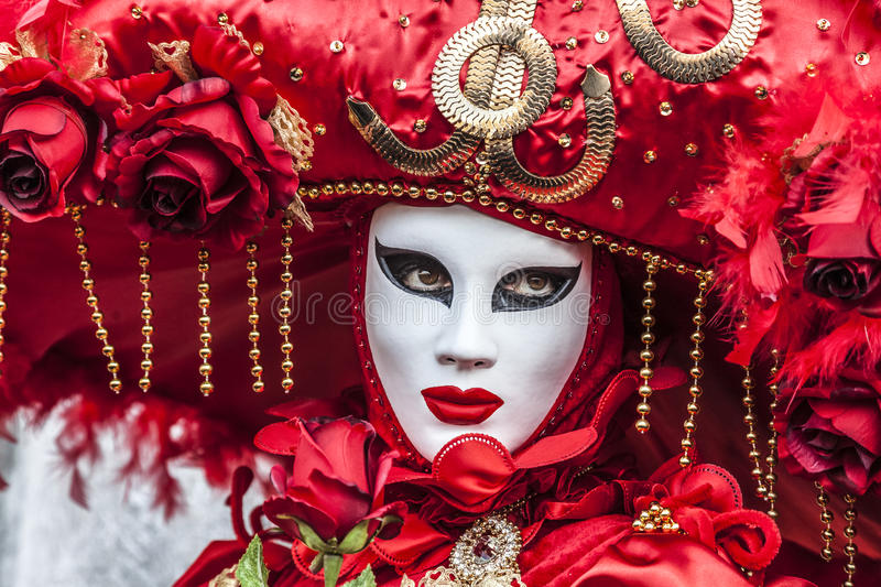 Red Venetian Disguise stock photo