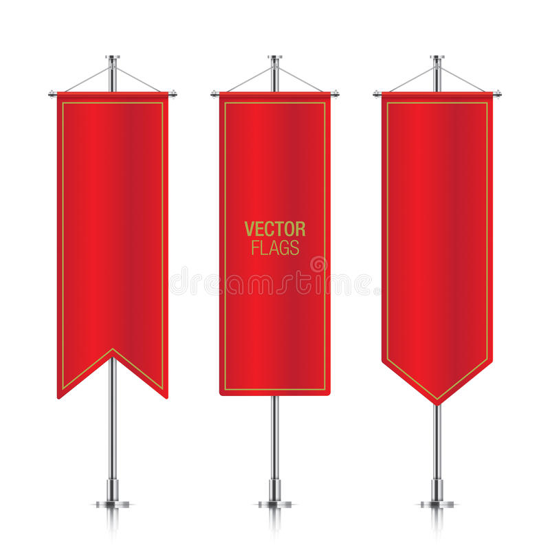Red vertical vector banner flags isolated. stock illustration