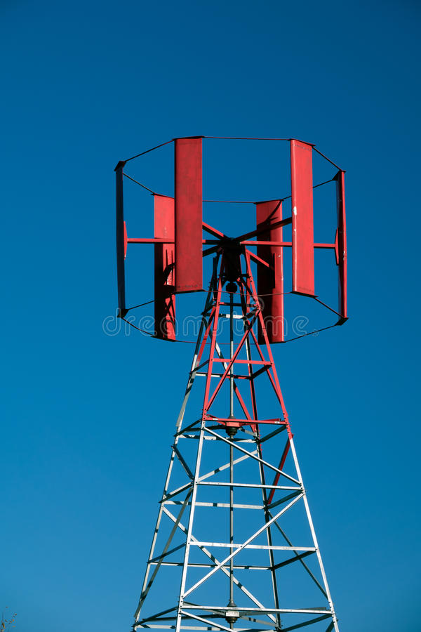 Vertical Wind turbine. Red Vertical Wind turbine in Katrineholm, Sweden stock photo