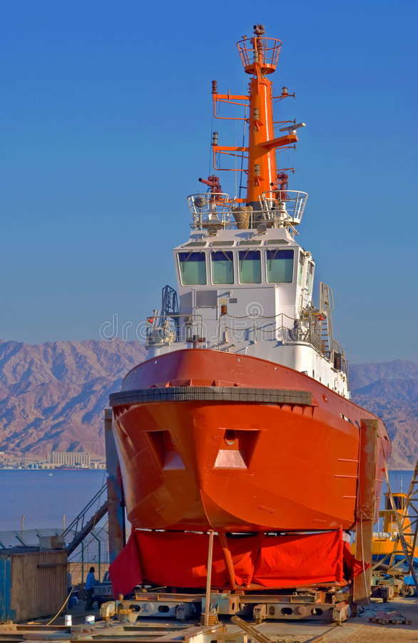 Free Red Vessel In Dock Stock Photos - 4131313