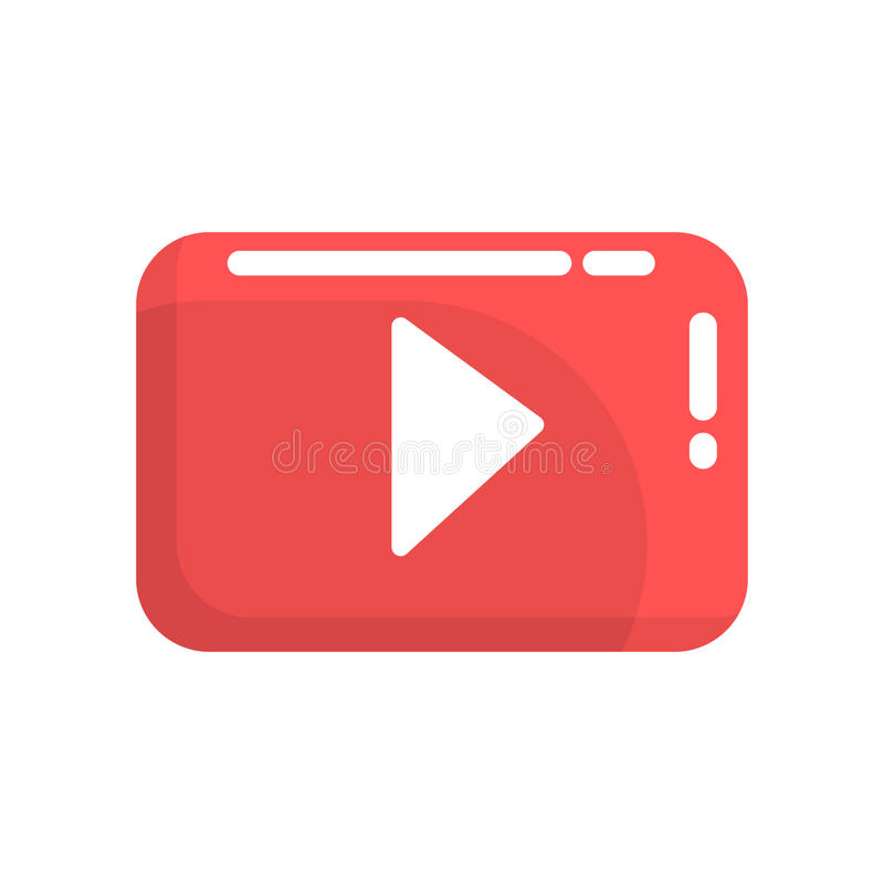 Red video play button. Internet or youtube button. Colorful cartoon vector Illustration. Isolated on a white background stock illustration