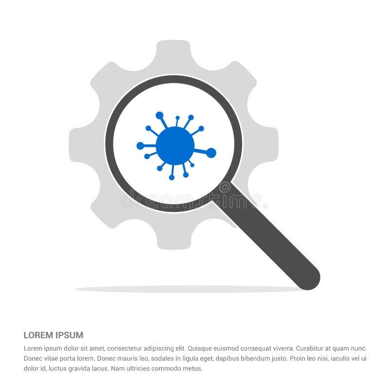 Red, vidrio de la búsqueda del icono de la parte con la plantilla del icono del símbolo del engranaje ilustración del vector