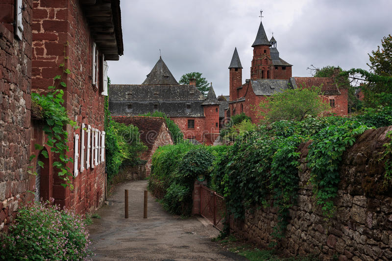 The red village Collonges-la-Rouge royalty free stock photo