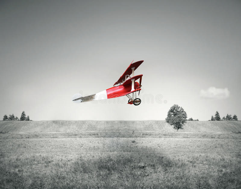 Red vintage airplane stock images
