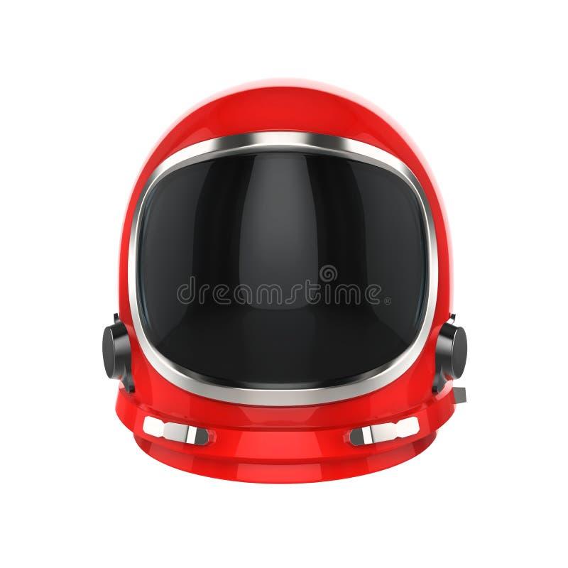 Red vintage astronaut helmet - isolated on white background stock illustration