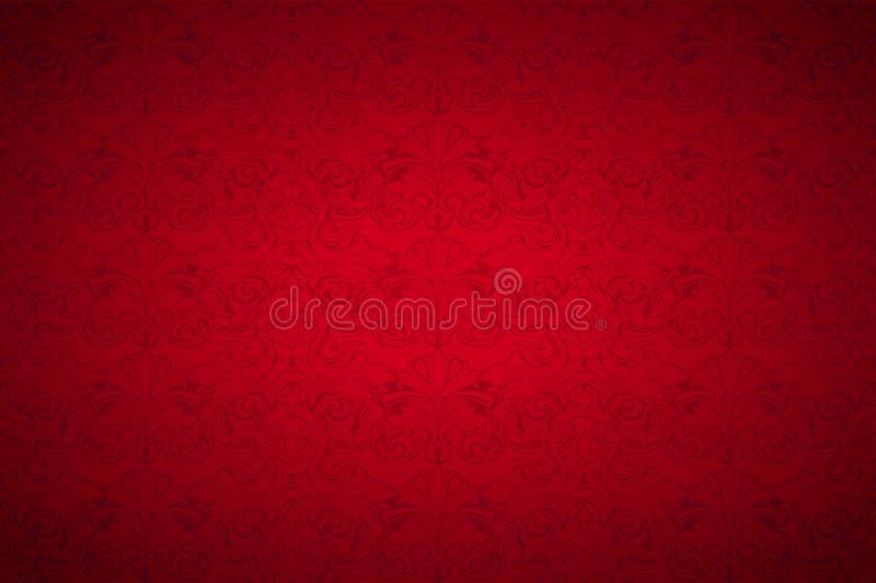 Red vintage background, royal with classic Baroque pattern. Red vintage background , royal with classic Baroque pattern, Rococo with darkened edges vector illustration