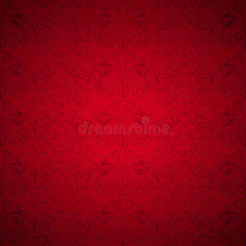 Red vintage background, royal with classic Baroque pattern. Red vintage background , royal with classic Baroque pattern, Rococo with darkened edges royalty free illustration
