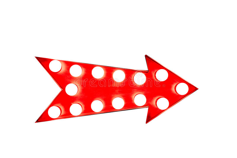 Red arrow: red vintage bright and colorful illuminated metal display arrow sign on white background stock photography
