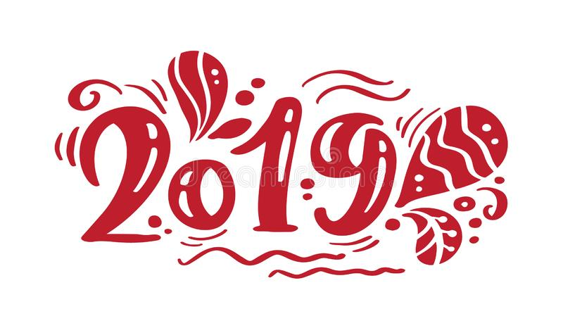 2019 red vintage calligraphy lettering vector christmas text. For art template design list page, mockup brochure style, banner ide vector illustration