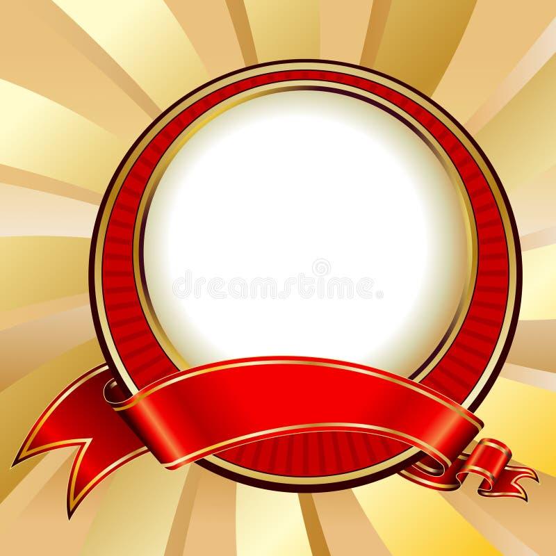 Red vintage circle frame vector illustration
