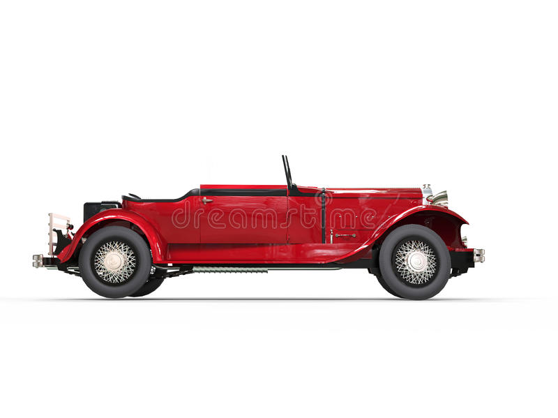 Red vintage convertible car - side view stock photos