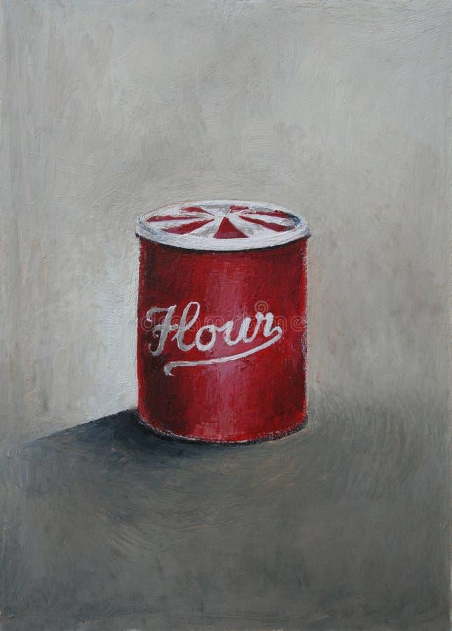 An oil painting of a red vintage flour tin. Illust stock photos