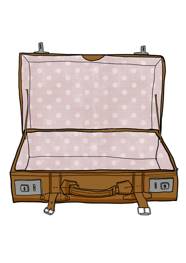 red vintage luggage suitcases open is empty cute illustration rh dreamstime com