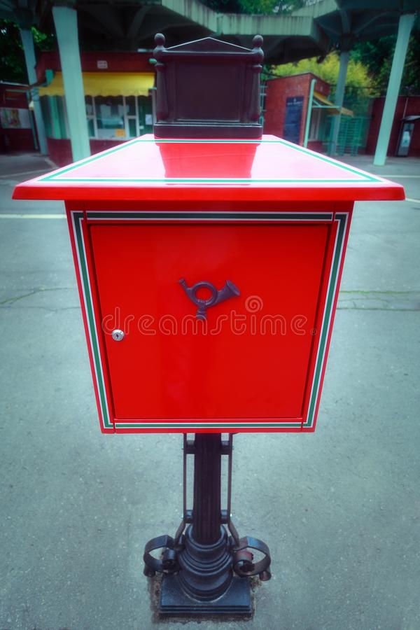 Red vintage mail post box stock photos