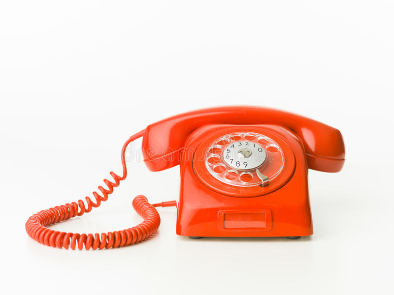 Red vintage phone royalty free stock image