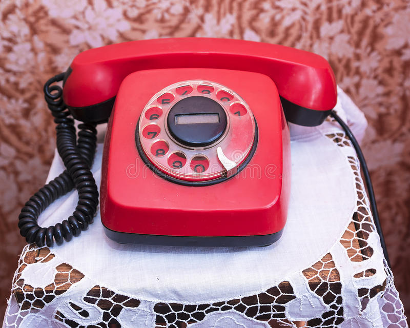 Red vintage phone stock image