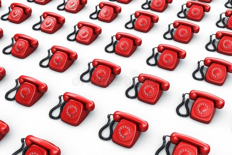 Red vintage phones royalty free illustration