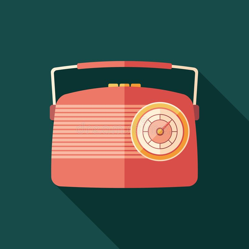 Red vintage radio flat square icon with long shadows. stock illustration