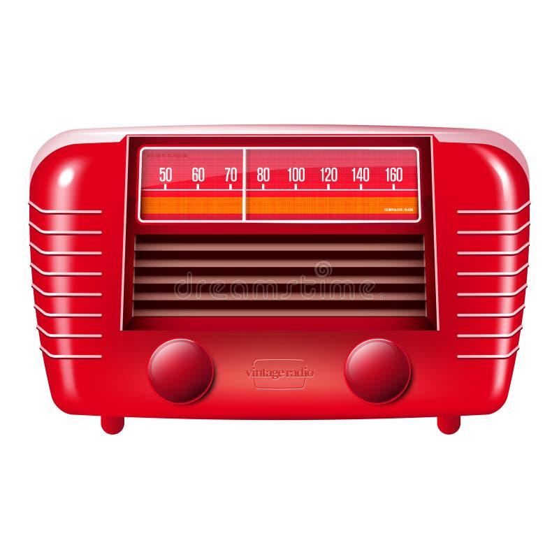 Red vintage radio-isolated on white stock illustration