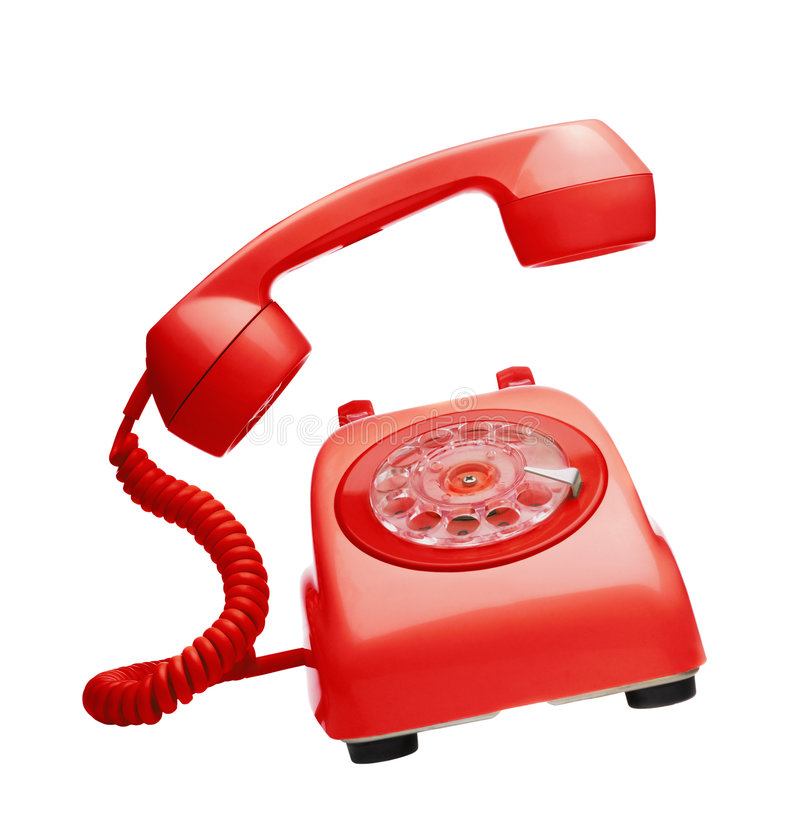 Red vintage telephone. Ringing and moving stock photo