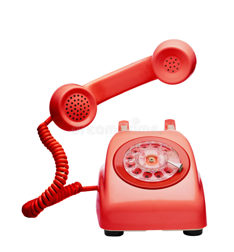 Red vintage telephone. Ringing and showing the speaker and microphone stock image