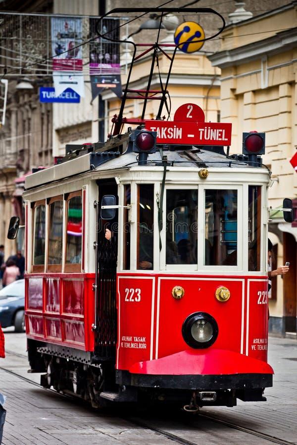 Red vintage tram on Taksim Istiklal Street stock photo