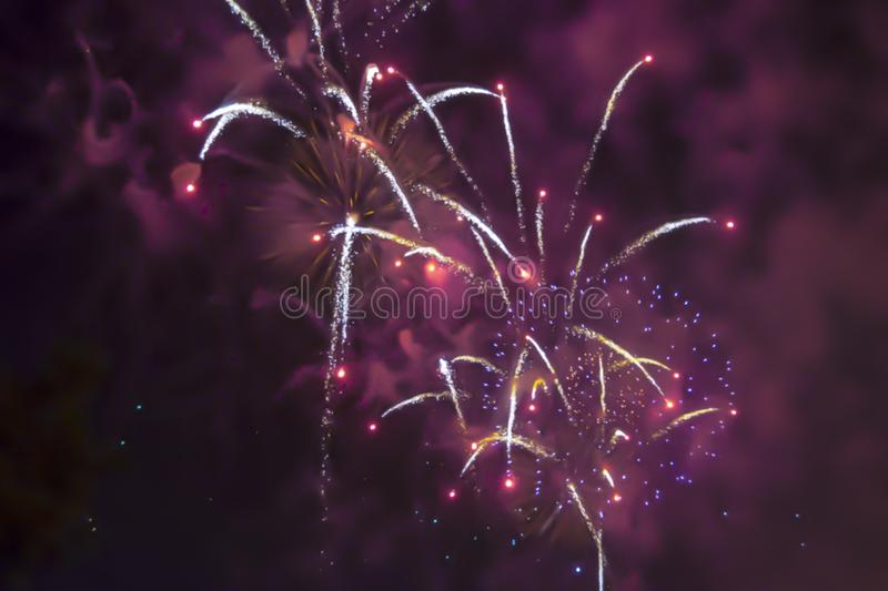 Red violet bright blurred fireworks effect abstract colorful background holiday. Blue bright blurred fireworks effect abstract colorful background holiday stock photos