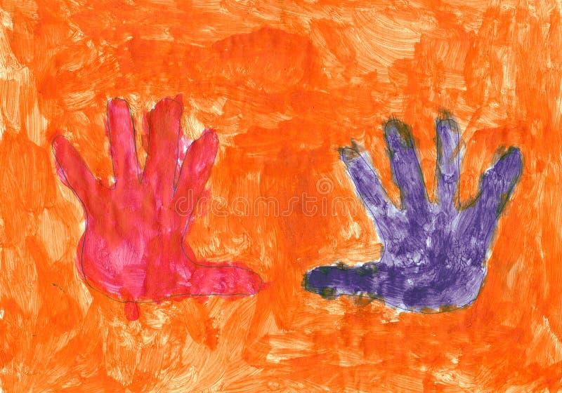 Red and violet hands on the orange background royalty free illustration