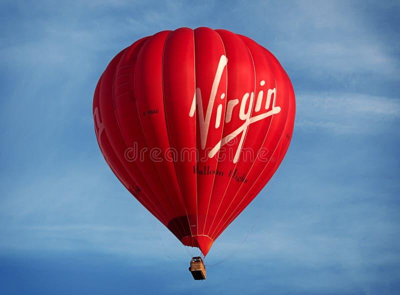 Red Virgin Hot Air Balloon royalty free stock photos