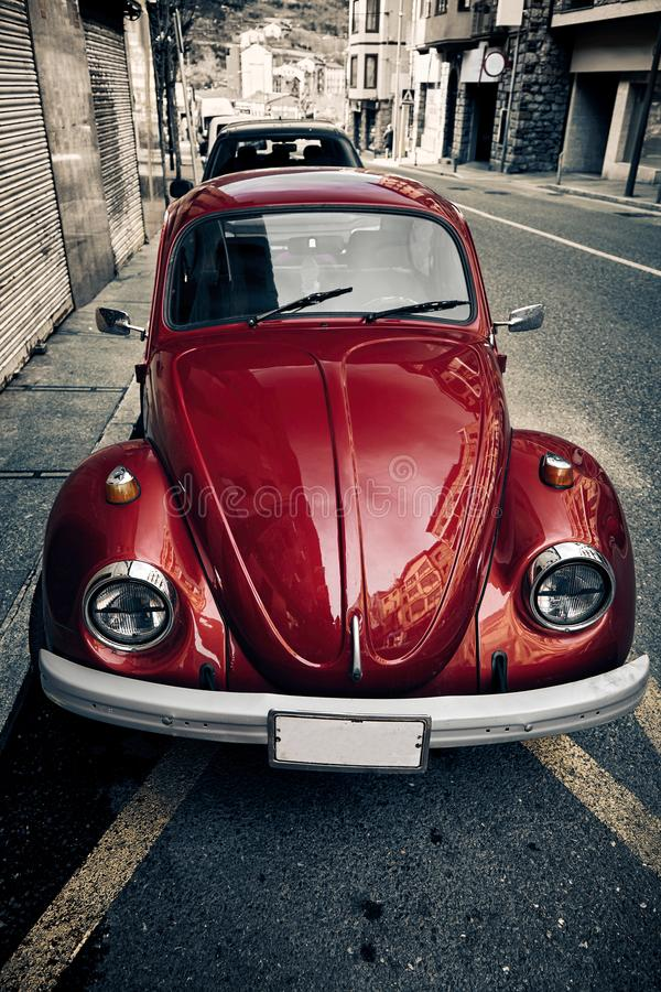 red Volkswagen beetle royalty free stock photos