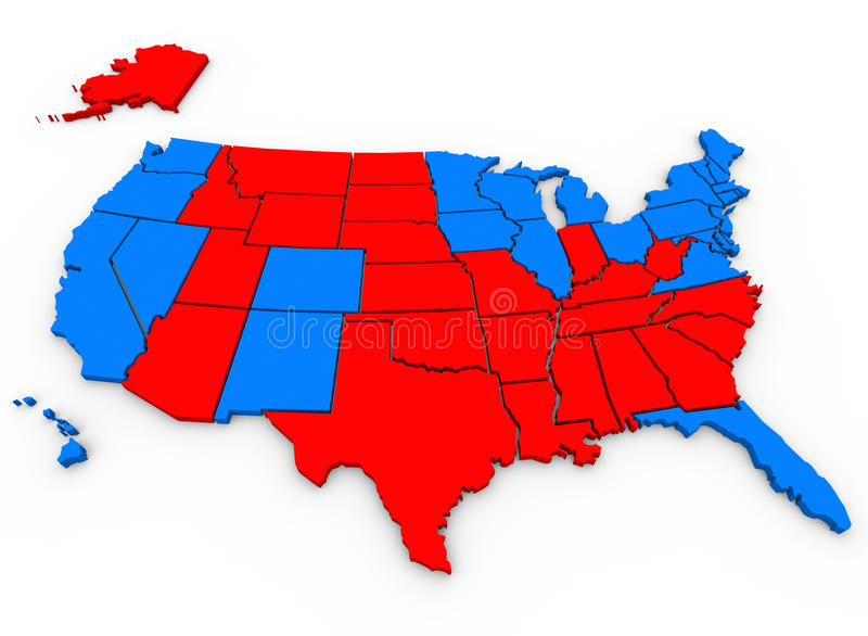 Red Vs Blue United States America Map Presidential Election. 3d rendered, illustrated United States of America map shows the blue states that voted for Barack royalty free illustration