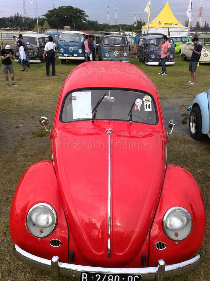 Red vw beetlebug royalty free stock photos