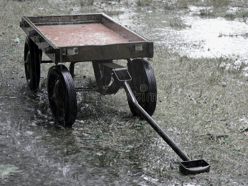 Download Red Wagon Rain 2 stock photo. Image of water, soil, soaker - 238702