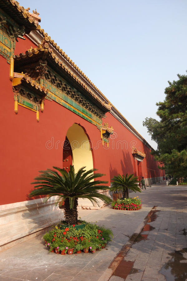 Red wall of Chinese palace. Wall of Beijing Tai Miao Temple China stock image