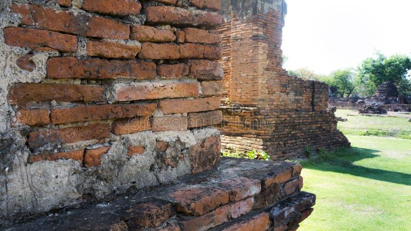 Red wall corner inside the Ayutthaya royalty free stock photos