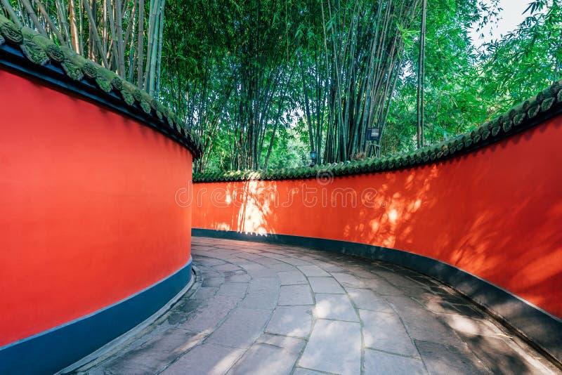 Red Wall Corridor of Wuhou Temple, Chengdu, Sichuan, China stock photos