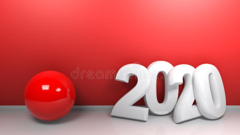 2020 at red wall - 3D rendering vector illustration