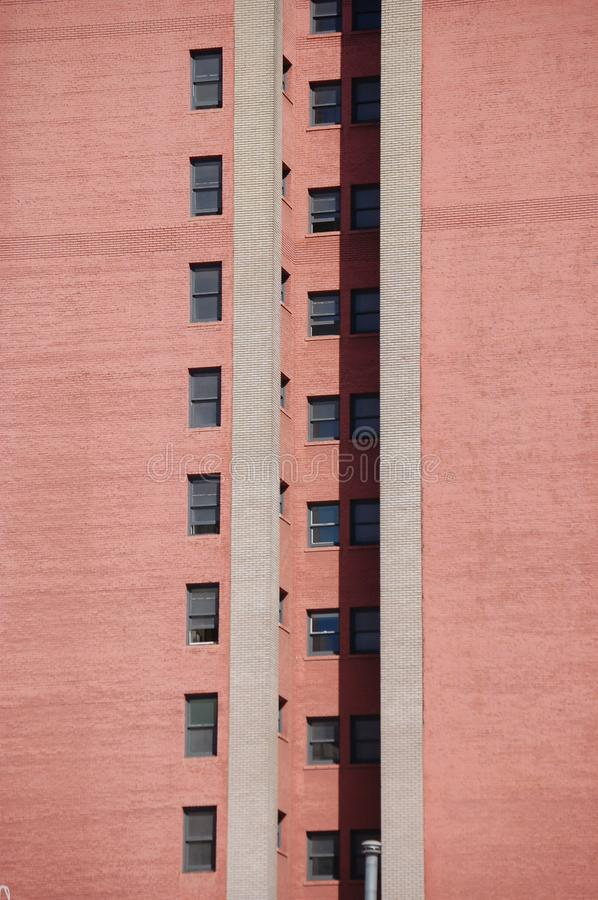Red Wall with 2 rows of windows in Portland, Oregon stock image