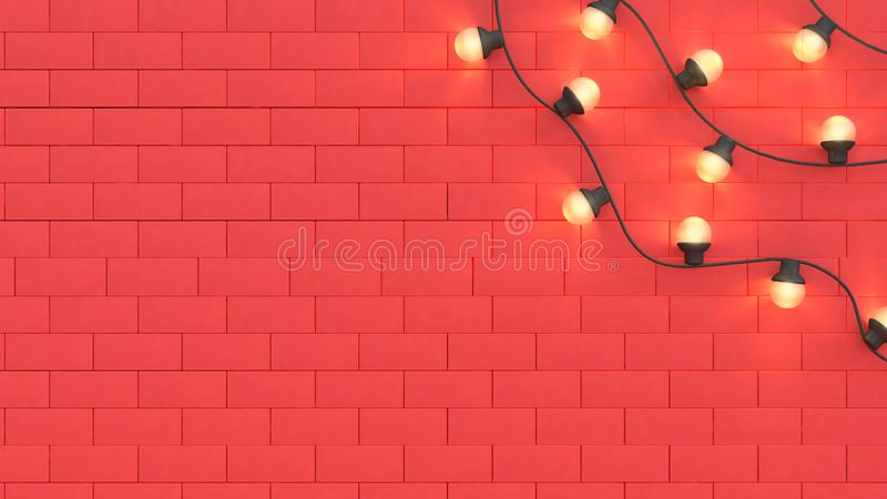 Red wall scene light and space 3d render christmas holiday new year concept 3d abstract background royalty free illustration
