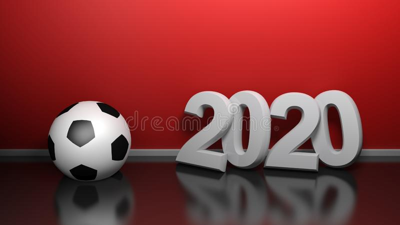 2020 at red wall with soccer ball - 3D rendering illustration stock illustration