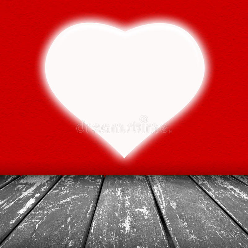 Red wall texture with white heart void. With light background and wood floor grey color stock illustration