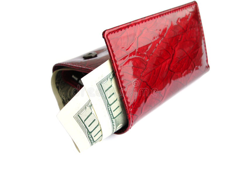 Download Red Wallet With One Hundred Dollars Isolated On A White Backgrou Stock Photo - Image of dollar, business: 1812224
