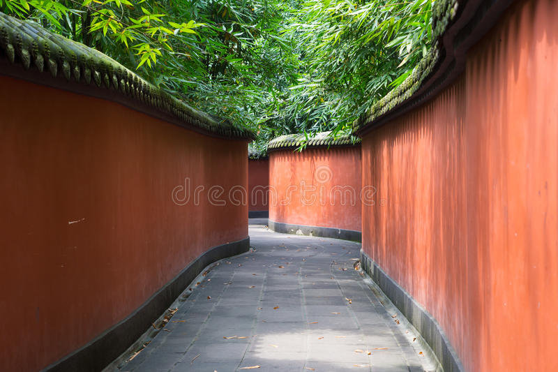 Red walls in a Buddhist temple in China stock image