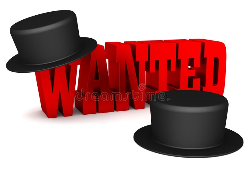 Red Wanted 3D Lettering With Black Hats Royalty Free Stock Photography