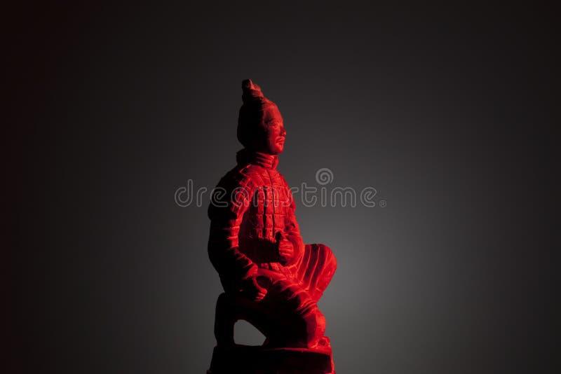 Red warrior of terracota stock image