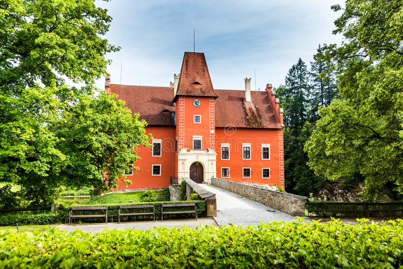 Cervena Lhota - the red, water chateau in the the Czech republic. stock images