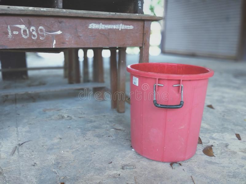 Red water tank. Old small stock photos