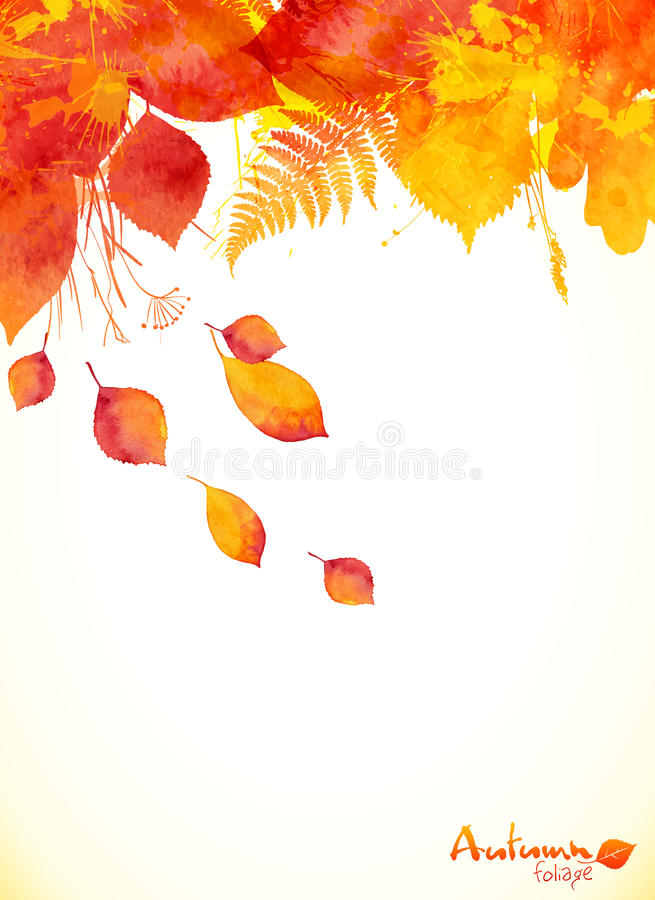 Red watercolor autumn leaves fall leaflet stock illustration