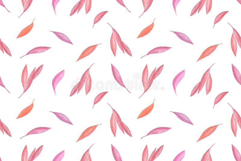 Red watercolor fancy leaves repeat pattern, floral composition, simple seamless ornament stock illustration