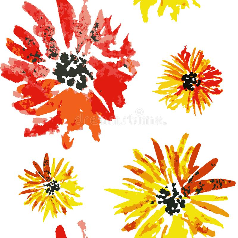 Seamless orange watercolor aster flower pattern vector illustration